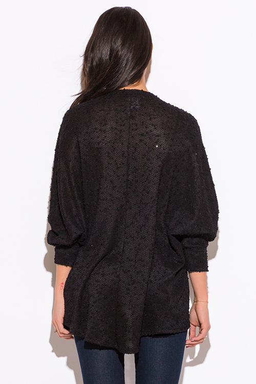 Cute cheap black embellished dolman sleeve cardigan sweater top