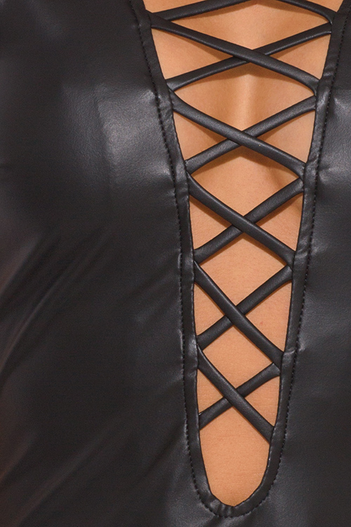 Cute cheap black faux leather cut out caged backless bodycon fitted clubbing mini dress