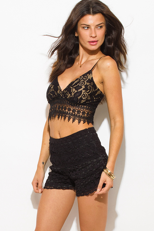 Cute cheap black floral crochet boho resort high waisted shorts