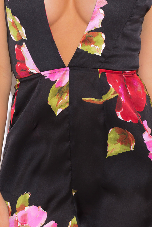 Cute cheap black floral print deep v neck pocketed halter party romper jumpsuit