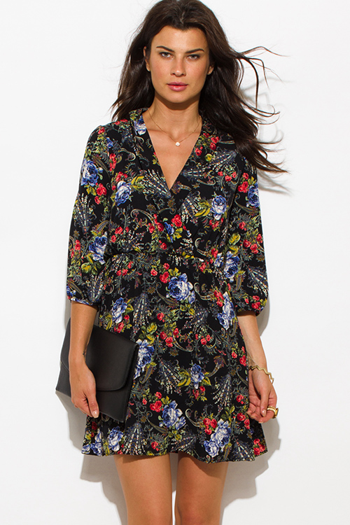 Cute cheap black floral print faux wrap quarter sleeve mini shirt dress