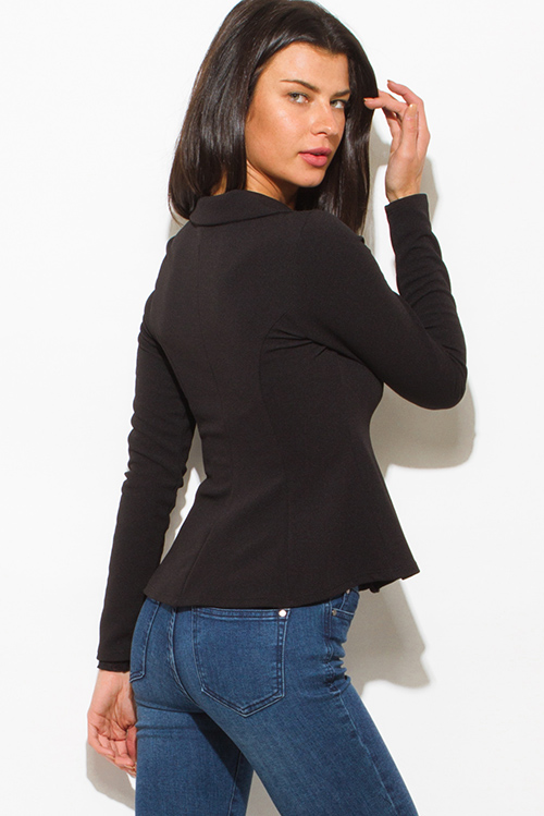 Cute cheap black golden button long sleeve fitted peplum blazer jacket top