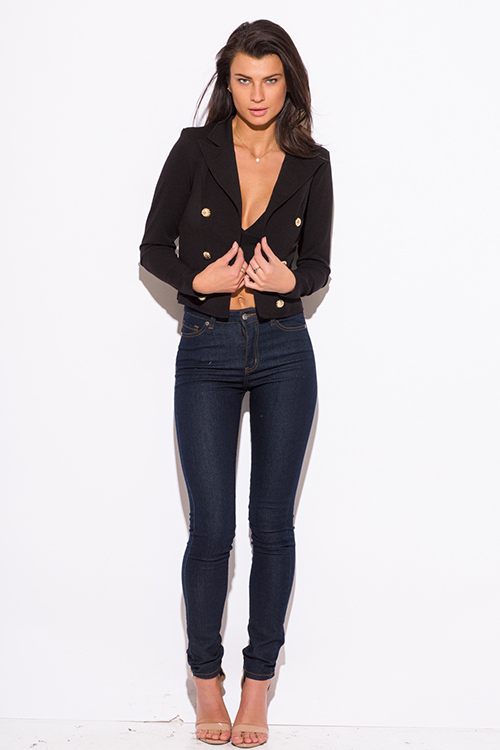 Cute cheap black golden button military style open blazer jacket