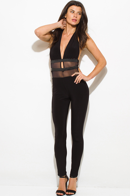 Cute cheap black halter deep v neck banded mesh contrast backless bodycon fitted clubbing catsuit jumpsuit