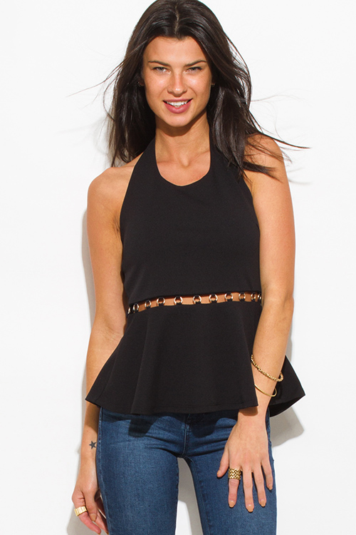 Cute cheap black halter embellished cut out open back peplum party suiting tank top