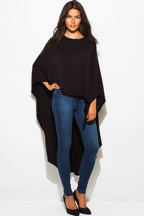 Cute cheap black high low hem boat neck long sleeve knit poncho tunic top