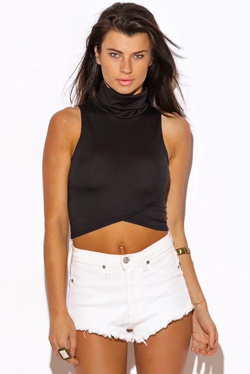 Cute cheap black high neck fitted party crop top