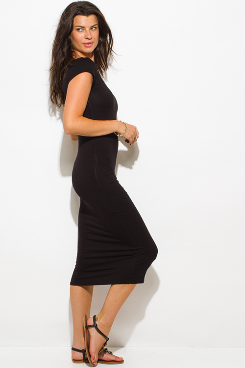 Cute cheap black jersey cap sleeve off shoulder bodycon fitted midi dress