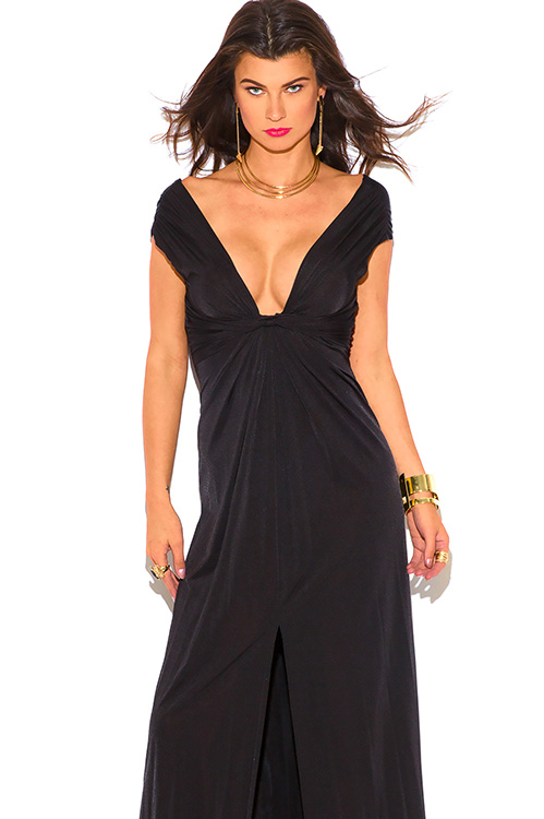 Cute cheap black knot front deep v neck high slit backless evening party maxi dress