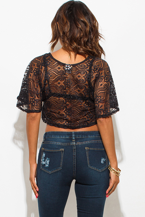 Cute cheap black lace flutter sleeve boho crop top