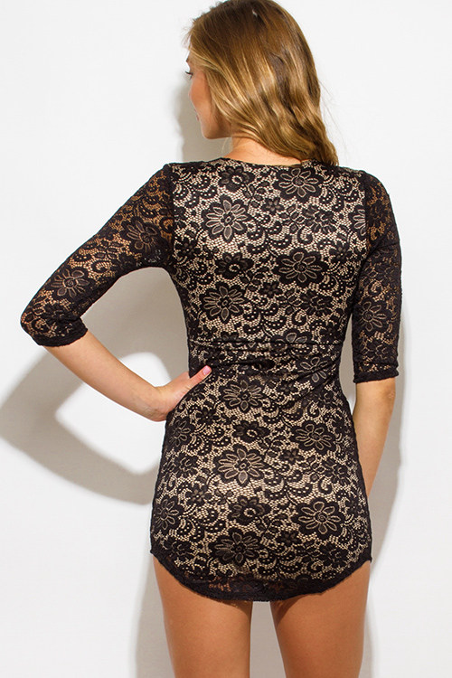 Cute cheap black lace laceup scallop hem bodycon fitted clubbing mini dress