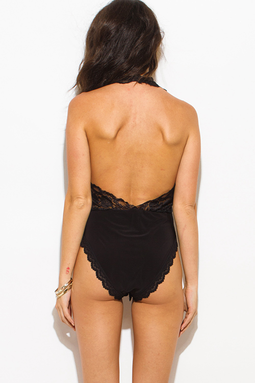 Cute cheap black lace overlay faux wrap halter backless clubbing bodysuit top