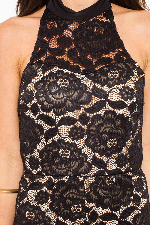 Cute cheap black lace overlay high neck bodycon fitted cut out backless romper playsuit jumpsuit