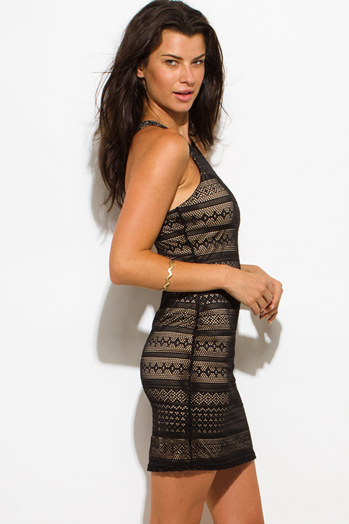Cute cheap black lace overlay racerback bodycon fitted club mini dress