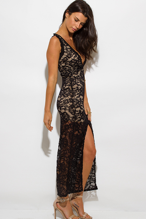 Cute cheap black lace overlay sleeveless deep v neck high slit bodycon evening party maxi dress