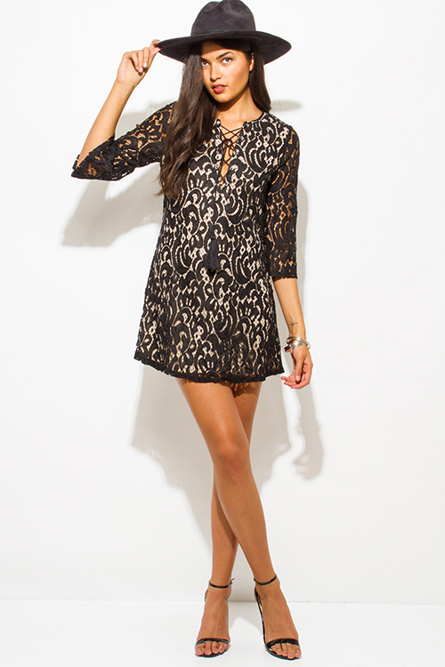 Cute cheap black lace overlay v neck laceup quarter sleeve boho party shift mini dress