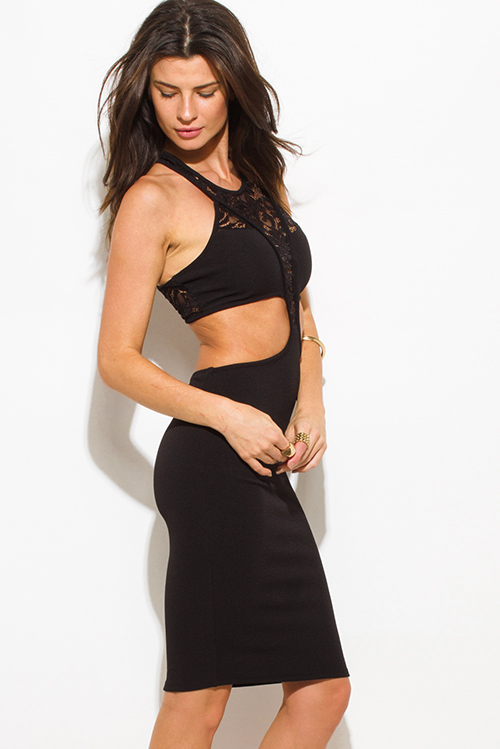 Cute cheap black lace panel contrast halter neck racer back cut out bodycon fitted club mini dress