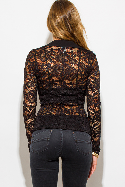 Cute cheap black lace sleeve double breasted golden button blazer top