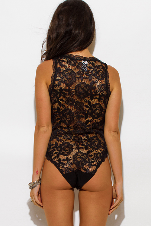 Cute cheap black sheer lace v neck scallop trim sleeveless clubbing bodysuit top