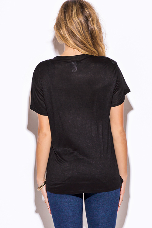 Cute cheap black low neck short sleeve slub tee shirt top