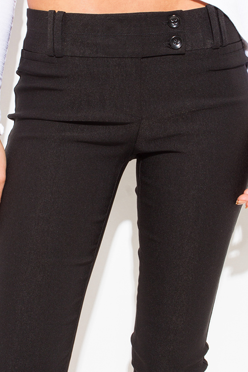 Cute cheap black mid rise double loop skinny fitted suiting capri trouser pants