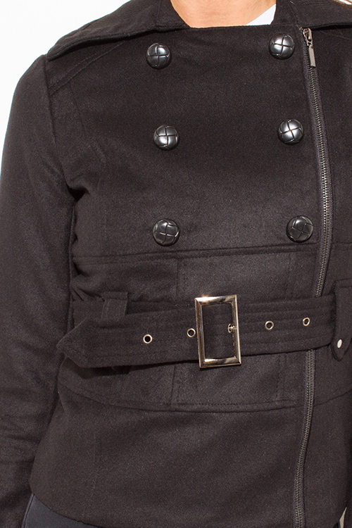 Cute cheap Black military long sleeve double breasted belted peacoat wool jacket