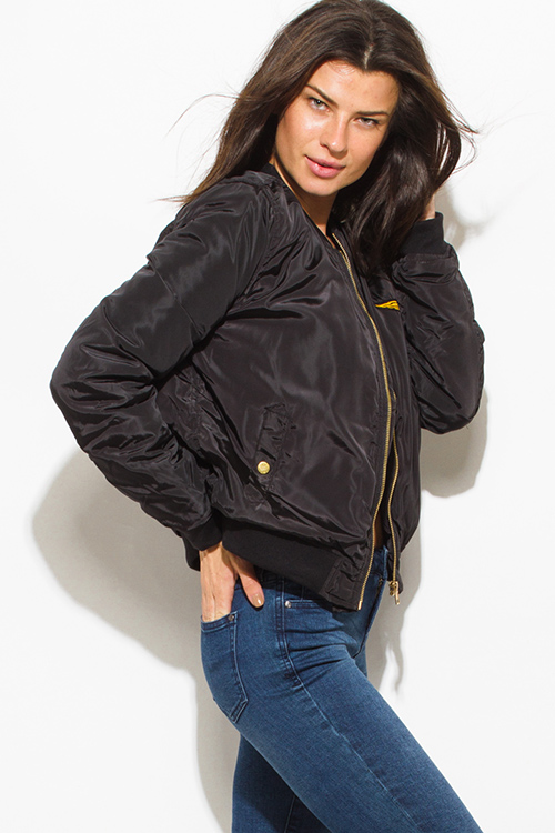 Cute cheap black military zip up pocketed patch embroidered puff bomber jacket