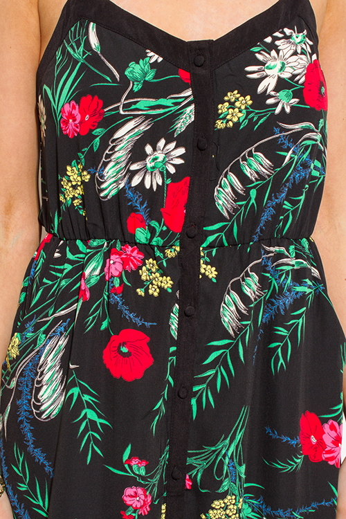 Cute cheap black multicolor floral print button up open back pocketed slit evening maxi sun dress
