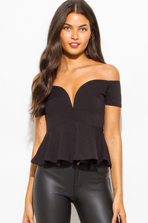 Cute cheap black off shoulder sweetheart neck peplum party crop bouse top