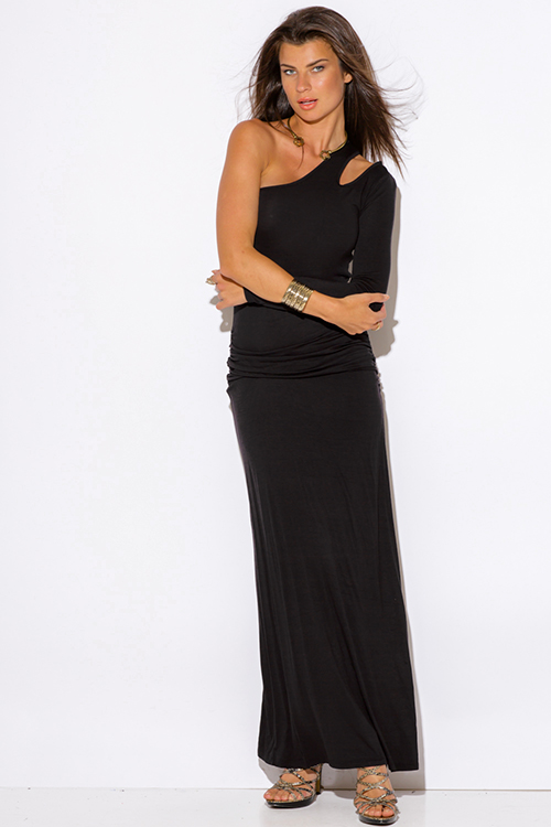 Cute cheap black one shoulder cut out sleeve ruched fitted evening maxi dress