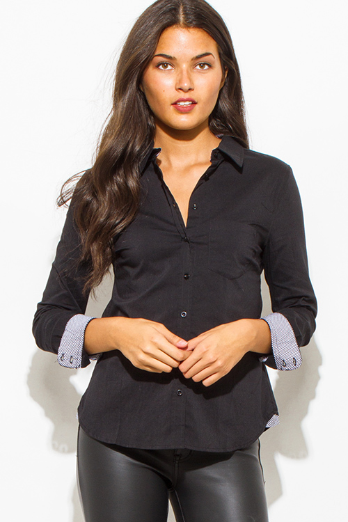 Cute cheap black pocketed checker sleeve contrast button up suiting blouse top