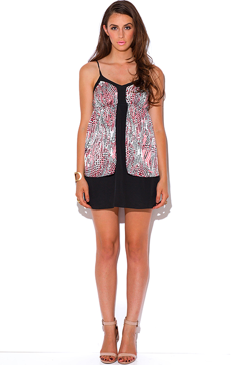 Cute cheap abstract print babydoll party mini dress