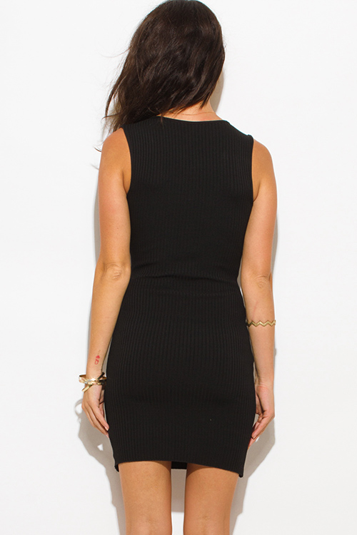 Cute cheap black ribbed  knit laceup sleeveless fitted bodycon club sweater mini dress