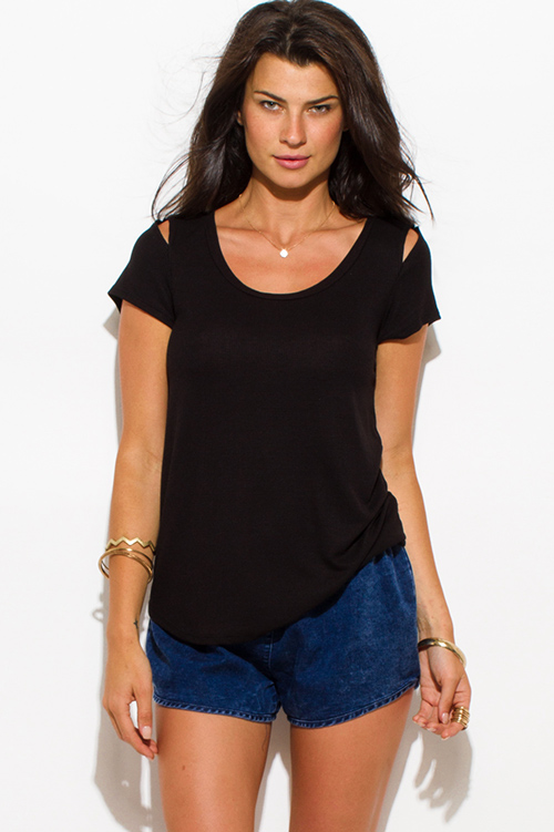 Cute cheap black ribbed knit cut out shoulder scoop neck short sleeve tee shirt top