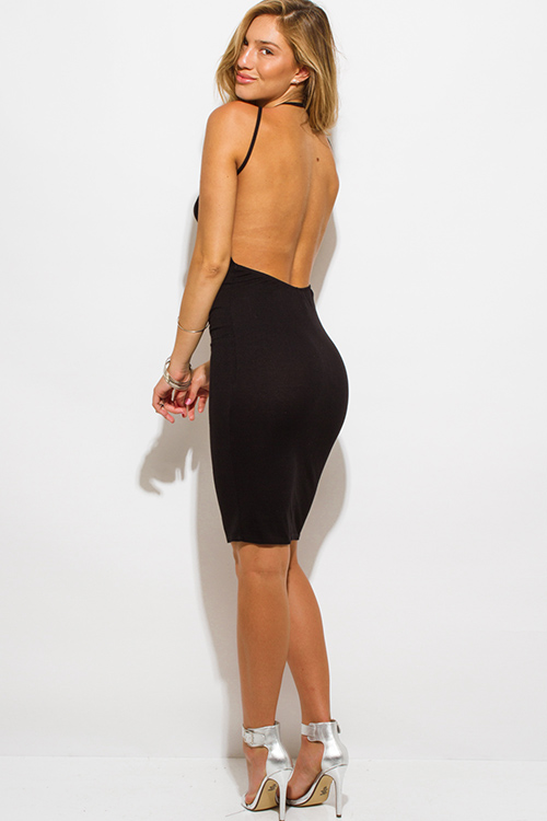 Cute cheap black ribbed knit jersey strappy halter backless party midi dress