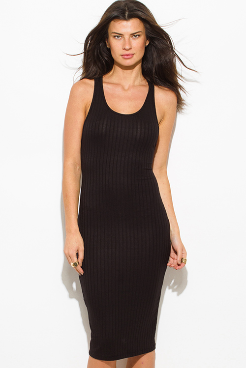 1edaf25f8e1 Shop black ribbed knit sleeveless scoop neck racer back bodycon fitted club midi  dress