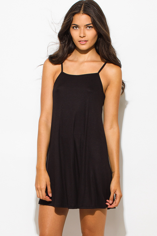 Cute cheap black ribbed spaghetti strap backless party mini dress