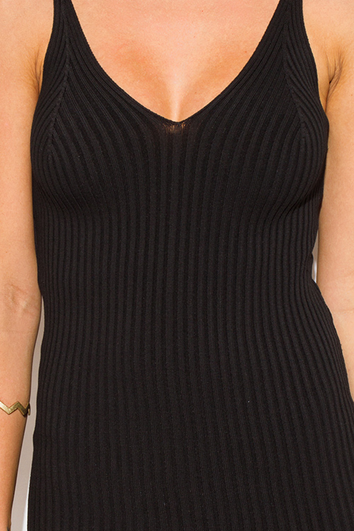 Cute cheap black ribbed knit thin strap v neck open back fitted bodycon sweater midi dress