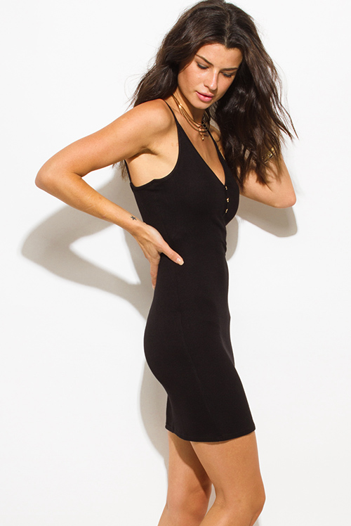 Cute cheap black ribbed knit v neck golden button spaghetti strap open back mini slip dress