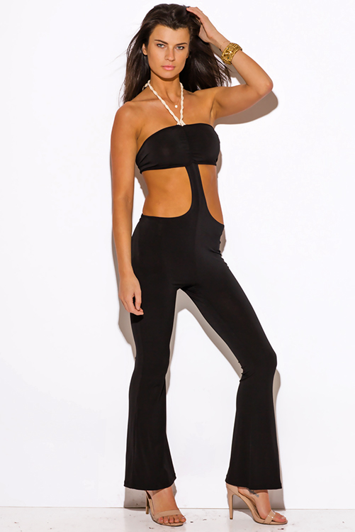 Cute cheap black rope halter cut out backless wide leg resort party jumpsuit