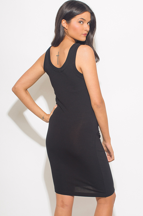 Cute cheap black ruched sleeveless bodycon fitted party midi dress