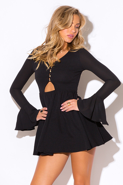 Cute cheap black ruffle long bell sleeve v neck a line cocktail party club mini dress