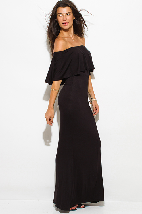 Cute cheap black rayon jersey ruffle off shoulder tiered formal evening maxi sun dress