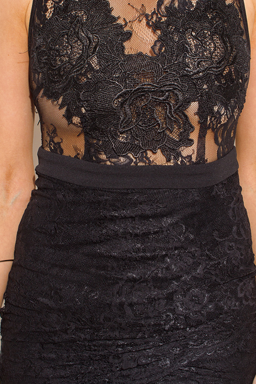 Cute cheap black see through lace scallop hem sleeveless bodycon cocktail party mini dress