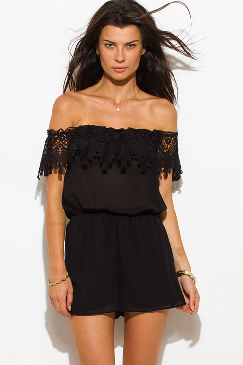 Cute cheap black semi sheer chiffon off shoulder scallop crochet trim boho romper playsuit jumpsuit