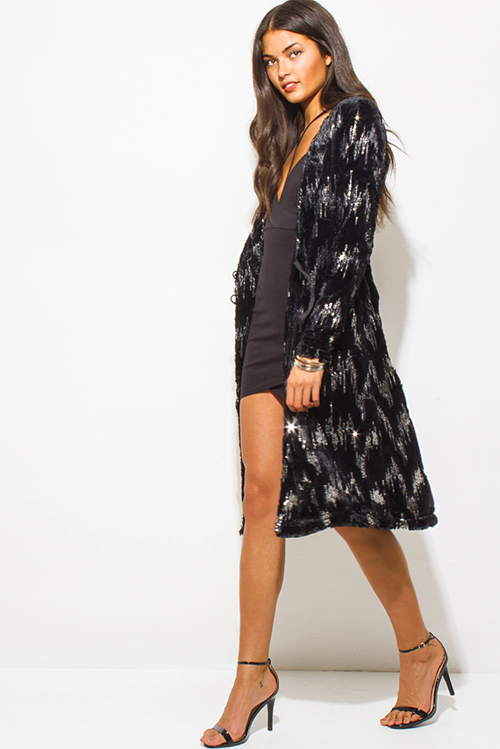 Cute cheap black sequined faux fur long sleeve bejeweled duster dress coat jacket