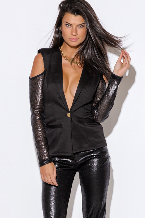 Cute cheap black sequined long sleeve cold shoulder cut out blazer jacket