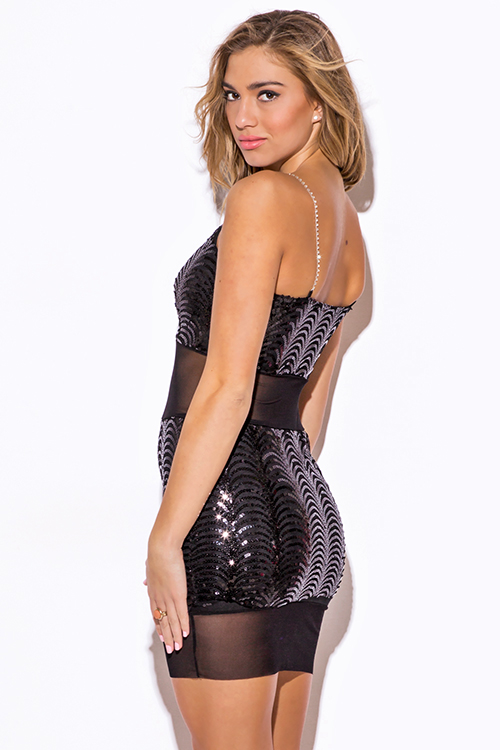 Cute cheap black sequined mesh rhinestone bejeweled fitted bodycon cocktail party mini dress