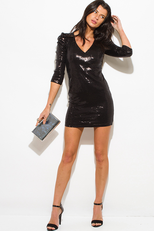 Cute cheap black sequined power shoulder quarter sleeve fitted bodycon clubbing mini dress