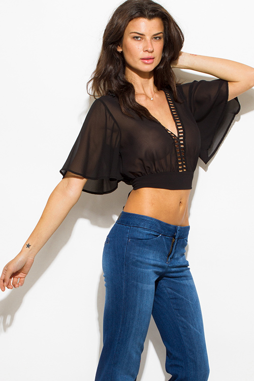 Cute cheap black sheer chiffon crochet trim v neck flutter sleeve open back tie crop blouse top
